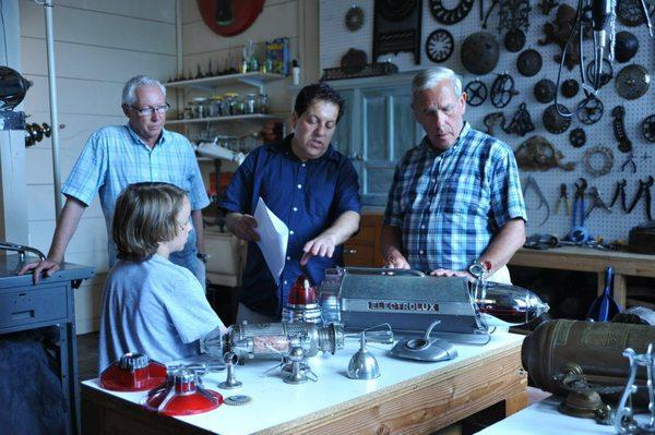 Russell Doucet, David Random, Writer/Director Alfred Thomas Catalfo and Tom Dunnington in David's workshop.