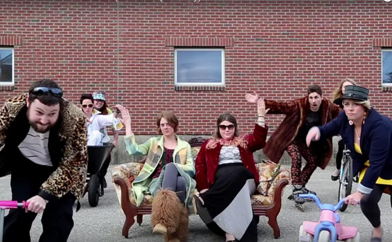 A still from the Maine parody commercial, Clothes Encounter, screened at the 2016 Maine Short Film Festival
