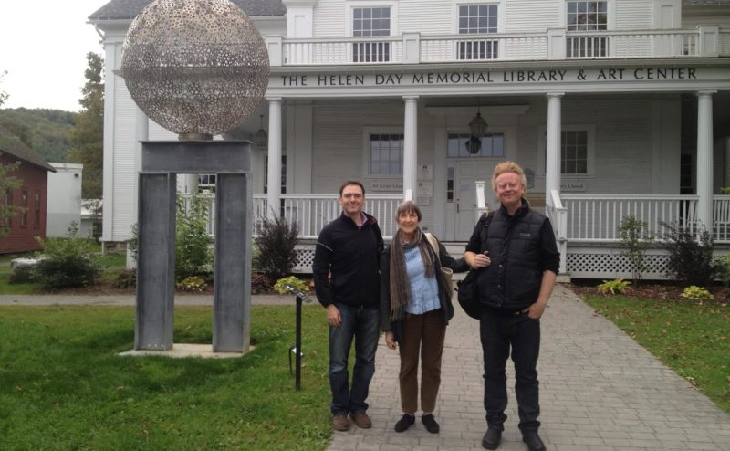 Stowe Story Labs Founding Mentors Chris Millis, Ellen Parks, and David Pope outside the Helen Day Art Center.