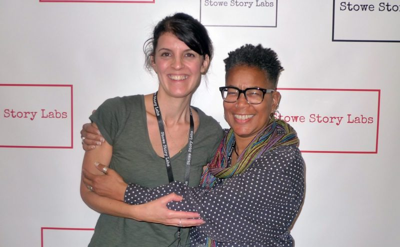Nicole Kempskie (left) at the Stowe Story Labs