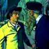 A still of a man in a yellow coat and hat talking to a man with a hat and a beard from the documentary Loving Vincent.