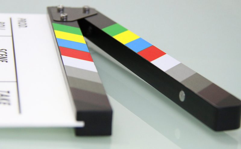 Film slate open on its side